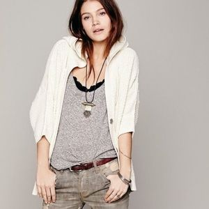Free People Cable Knit Slouchy Hooded Cardigan
